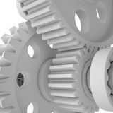 White shafts, gears and bearings Stock Photos