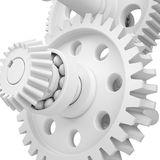 White shafts, gears and bearings. 3d render on white background stock images