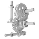 White shafts, gears and bearings Royalty Free Stock Photo