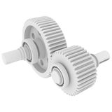 White shafts, gears and bearings. 3d render isolated on white background stock photos