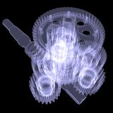 White shafts, gears and bearings Stock Images