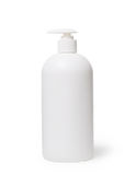 White Shampoo or body care cosmetic bottle with dispenser isolated on  . Royalty Free Stock Photos