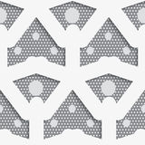 White shapes with big and small dots on gray pattern Royalty Free Stock Images
