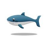 White shark cartoon is fish in underwater to sea stock illustration