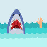 White Shark And Hand Of Man Asking For Help. Vector Illustration: White Shark And Hand Of Man Asking For Help Stock Photo