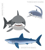 White Shark Set Cartoon Vector Illustration Stock Photography