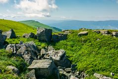 Stones and boulders in Carpathian mountain range. White sharp stones and boulders on the hillside on top of  Carpathian mountain range Stock Photography