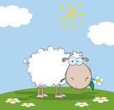 White sheep cartoon character Stock Photography
