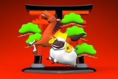 White Sheep, Horse, Symbolic Entrance On Red Stock Image