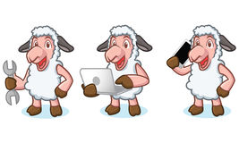 White Sheep Mascot with laptop Royalty Free Stock Photos