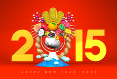 White Sheep, New Year Decoration And Mountain, 2015, Greeting On Red Royalty Free Stock Photos