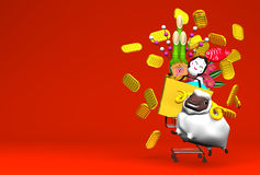 White Sheep, New Year's Ornaments And Shopping Cart On Red Text Space. 3D render illustration For The Year Of The Sheep,2015 Royalty Free Stock Photo