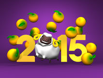 White Sheep And Oranges, 2015 On Purple Background. 3D render illustration For New Year's Day In Asia Royalty Free Stock Photography