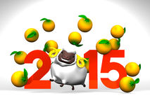 White Sheep And Oranges, 2015 On White Background. 3D render illustration For The Year Of The Sheep,2015 Stock Photos