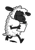 White Sheep Playing With A Tablet stock illustration