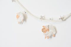 White sheeps. On wall in sleeping room Royalty Free Stock Photo