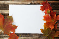 White sheet with autumn leaves on brown wooden background. Royalty Free Stock Photos