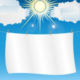 White sheet hung on a rope. In sunny weather. Vector, Illustration Royalty Free Stock Photography