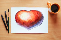 White sheet painted with a red heart lots of stationary Royalty Free Stock Photo