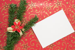 White sheet of paper, the branches of the Christmas tree, a flow Royalty Free Stock Image