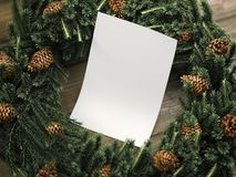 White sheet of paper among Christmas decorations. 3d rendering Royalty Free Stock Photography
