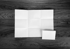 White sheet of paper folded in nine top shooting. Stock Image