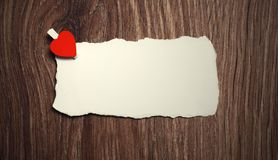 White sheet of paper love notes and heart shape Stock Images