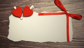 White sheet of paper love notes and heart shape Stock Photo