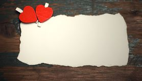 White sheet of paper love notes and heart shape stock photos