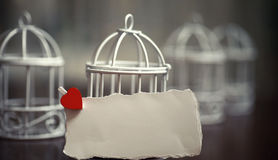 White sheet of paper love notes and heart shape Royalty Free Stock Image