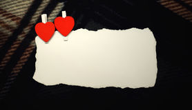White sheet of paper love notes and heart shape Royalty Free Stock Images