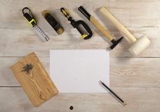 A white sheet of paper and a pencil to sketch, top view Royalty Free Stock Images
