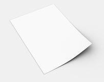 White sheet of paper. Render on a grey background Royalty Free Stock Photography