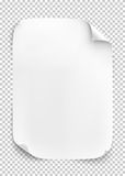 White sheet of paper on transparent background. Royalty Free Stock Photos