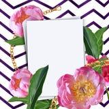 White sheet of paper on wavy background with peony flowers elements. Botanical illustration. Collection of peonies on a white stock illustration