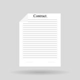 White sheet of paper with the word. White  sheet of paper with the word `contract Royalty Free Stock Images