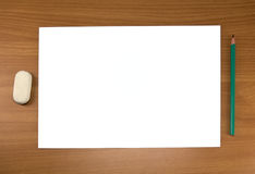 White sheet and pencil Royalty Free Stock Images