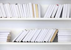 White shelf with books Stock Image