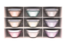 The white shelf, containers with cosmetics. Stock Photography