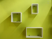 White shelf and green wall Royalty Free Stock Image