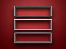 White shelfs on red background Royalty Free Stock Images