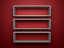 White shelfs on red background. Three 3d white shelfs on red background stock illustration