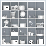 White shelves with different home related objects Stock Image