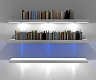 White shelves with lights illuminated spotlights Royalty Free Stock Images