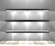 White shelves with lights illuminated spotlights Stock Photography