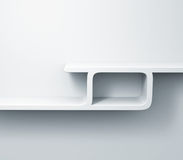 White shelves on the wall 3d model Stock Image
