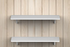 White shelves on wall. 3d rendering white shelves on wall Royalty Free Stock Photos