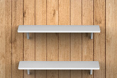 White shelves on wall. 3d rendering white shelves on wall royalty free stock image