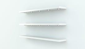 White shelves on white wall 3D rendering Stock Images