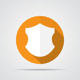 White shield in flat design with long shadow. Simple shield icon on an orange circle. Vector illustration. Stock Image
